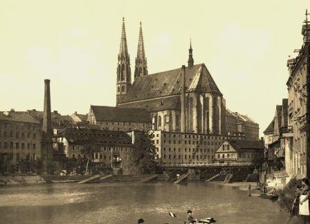 Görlitz - 2 historische Fotografien um 1900 (Reproduktionen) - alte Brücke, St. Peterskirche / Viadukt - Format 13x18 cm