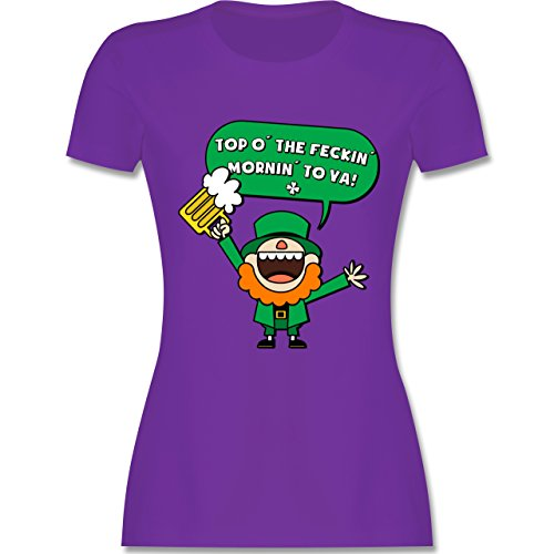 Shirtracer St. Patricks Day - St. Patricks Day Spruch - Damen T-Shirt Rundhals Lila