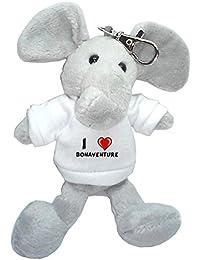 Elefante de peluche (llavero) con Amo Bonaventure en la camiseta (nombre de pila/apellido/apodo)