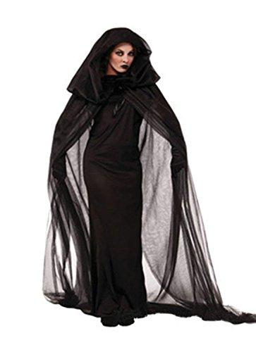 uze Kostüm Damen Schwarz Witch Cosplay Party Kleider Halloween (M, schwarz) (Halloween-kostüme Mit Einem Schwarzen Kleid)