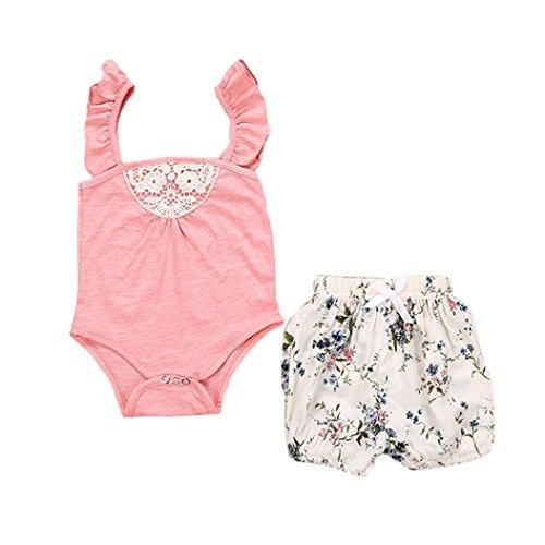 Hunpta 1 set Kleinkind Baby Mdchen Outfit Kleidung Spitze Strampler Overall + Floral kurze Hosen, Pink, 70CM -