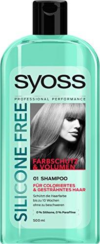 Syoss Shampoo Silicone Free ohne Silikone und Paraffine, Farbschutz und Volumen für coloriertes & gesträhntes Haar, 6er Pack (6 x 500ml)