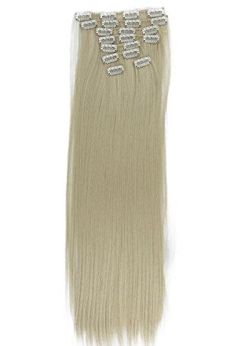 PRETTYSHOP XL 7 Teile Set Clip in Extensions 60cm Haarverlängerung Haarteil glatt platinblond #88 CE8