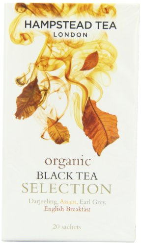 Hampstead Tea London Organic Black Tea Selection Darjeeling Assam Earl Grey English Breakfast / Selezione Biologica di Té Neri Darjeeling Assam Earl Grey al Bergamotto e English Breakfast - 1 x 20 Sachets (40 Gram)