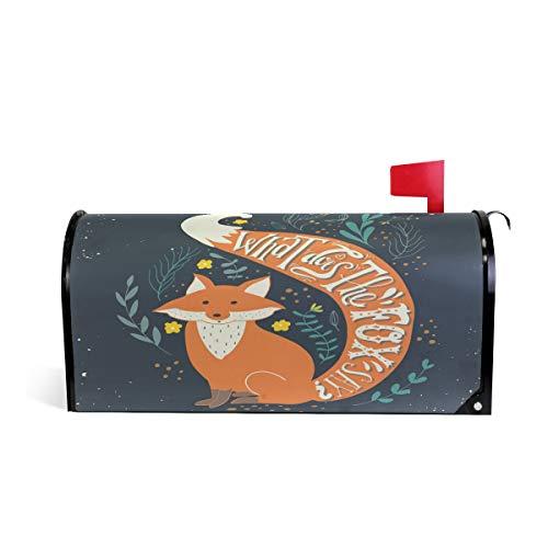 Wamika Handgezeichneter Vintage-Druck, Aufschrift What Does The Fox Say Welcome, magnetisch, Briefkasten-Abdeckung, Standardgröße, Makover Mailwrap Garten Home Decor