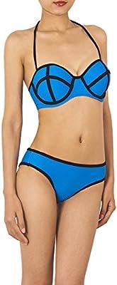 iB-iP Mujer Escote Halter Cuello Neopreno Aco De Poca Altura Conjunto De Bikini