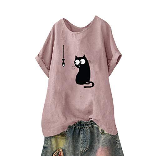 MRULIC Damen T-Shirt Sommer Kurzarm Blusen Kätzchen Muster Hemdbluse Casual Rundhals Shirt(Rosa,EU-38/CN-M)
