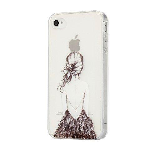 Für iPhone 4 4S Hülle Fall , IJIA Mädchen Zurück Weich TPU Case Durchsichtig Schutzhülle Silikon Crystal Transparent Cover Hülle für Apple iPhone 4 4S + 24K Gold Aufkleber