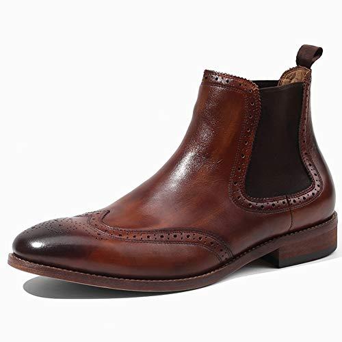 LEFT&RIGHT Herren Lederstiefel Chelsea Ankle Boots Work Formelle Ankle Cowboy Biker Boots Schuhe,EU42=26Cm (Schuhe Cowboy-wingtip)