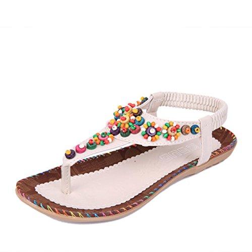 Dolce agata in rilievo Flat Top spina di pesce Pin Toe Comfortable clip Coreano di stile del vento sandali femminili Beige