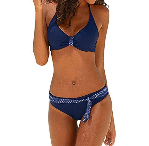 Blau Polka Dot Bikini-badeanzug (Vectry Damen Plus Size Bikini Set Sommer Push-Up Gepolsterte Mode Polka Dot Gedrucktes Mustered Triangle Split Badeanzug Swimjupmsuit Beachwear Bademode Tankini Blau,M)