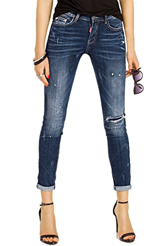 Bestyledberlin Damen Jeans Ankle Cut, Used Look Jeanshosen knöchellang, Slim Fit Boyfriendjeans kurz j44i XXL (Vintage Jeans-jeans Designer Cut)