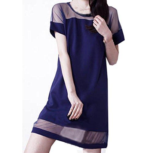 OL partiss à manches courtes pour femme décolleté en u en fleur dentelle robe de soirée en mousseline de soie robe d'été Bleu