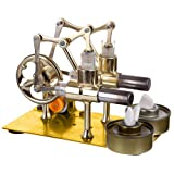 ZUJI Stirlingmotor Bausatz Doppelzylinder Birne Externe Verbrennung Motor Stirling Engine Dampfmaschine Modell Kit Lehrreich Physik Spielzeug für Kinder und Erwachsene