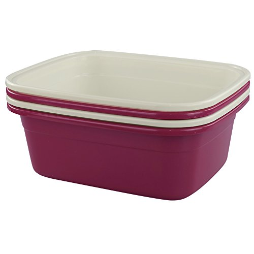 Cadine 14L plástico barreño Rectangular para lavabo, pack de 4