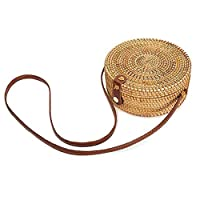 Hossejoy Womens Handwoven Round Rattan Bag Shoulder Leather Straps