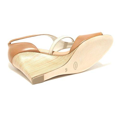 42751 sandali donna TOD'S sandalo zeppa scarpa scarpe shoes women Cuoio