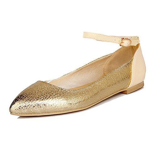 Agoolar donna tacco basso luccichio puro fibbia punta chiusa ballet-flats, oro, 43