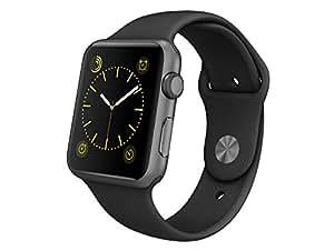 Apple MJ3T2FD/A Aluminium Sportarmband für Apple Watch (42 mm) space grau/schwarz