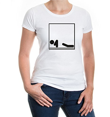 buXsbaum® Girlie T-Shirt Liegestütze-Piktogramm White-Black