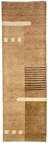 Morgenland GABBEH Teppich 250x80 cm Läufer Braun Handgeknüpft Wolle Muster Weich -