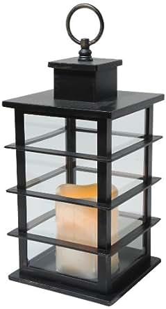 Kaemingk LED Kunstoff-Laterne Modern 14 x 14 x 33 cm, Außen, Batteriebetrieben, 6-Stunden Timer, schwarz 482431