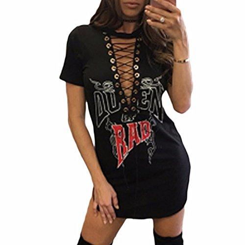 QIYUN.Z Mode Féminine Criss Cross Deep V-Neck Manches Courtes Décontractées T-Shirts Robe Noir