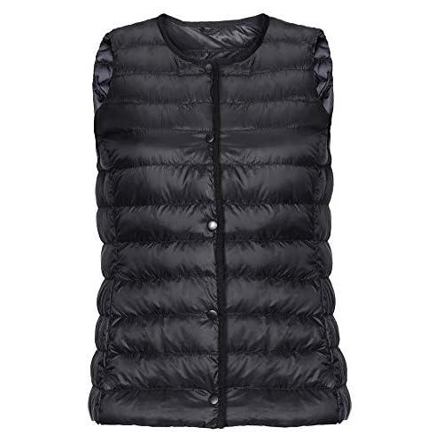 41k11GLnbIL. SS500  - Womens Ultralight Winter Sleeveless Down Jacket,Packable Gilets Bodywarmers Round Collar V-Neck Switch Waistcoat