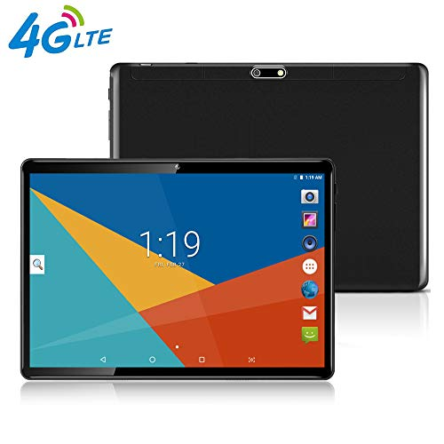 Tablet 10 Zoll, 25,65 cm (10,1) Tablets PC Android 7.0, 3G, HD, 4G LTE,Wifi,GPS,GSM,Octa Core,Dual Sim Card, 64GB+4GB,1920X1200 IPS, Black (Tablet 3g 4g)