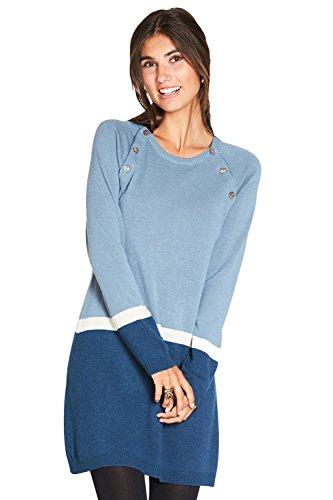 Milker Look - Stillkleid Umstandskleid aus Wolle-Viskose-Strick blau-hellblau-creme Gr. S (Handwäsche, Viskose)