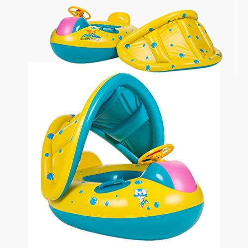 Oziral Kinderboot Schwimmen Auto Schwimmring mit Sitz Schwimmhilfen mit Sonnendach Ring Mühelos Aufblasbares Kinderboot Geeignet für Kinder von 6-36 Monate