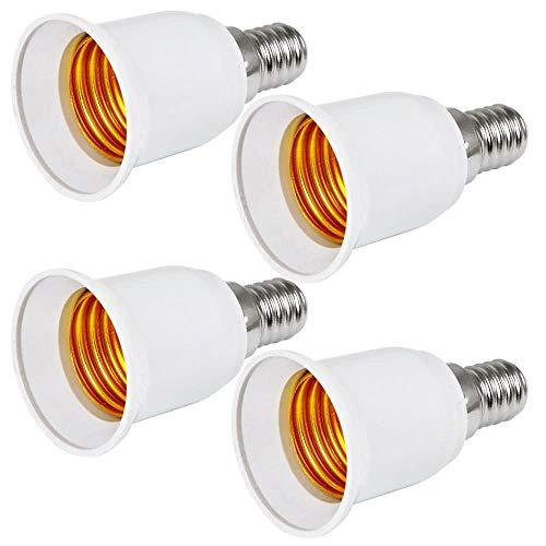 MENGS® 4 Stück Qualität E14 auf E27 Lampenfassung Konverter Adapter Mit Hohe Temperaturbeständigkeit ABS Material - Extender / Halter