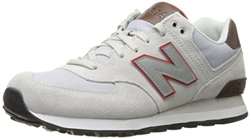 New Balance Wl574, Baskets Basses Homme Blanc (White/Red)