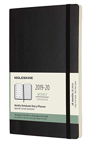 Moleskine 2019-20 Weekly - Agenda Cuaderno Semanal de 18 Meses 2019/2020, Negro, Tamaño Grande 13 x 21 cm, 208 Páginas