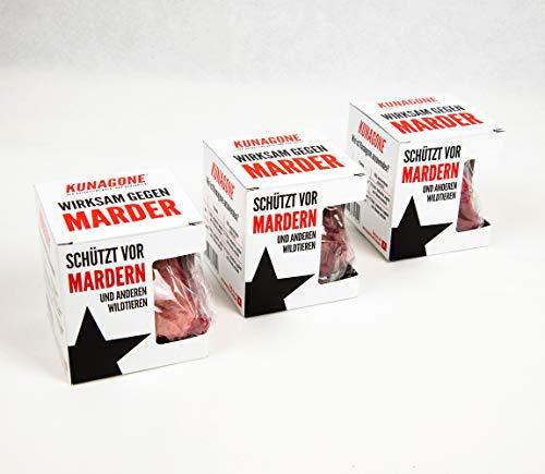 3X Kunagone natürlicher wirksamer Schutz gegen Marder und Wildtiere Marderabwehr Marderschutz Marder Stop Schreck für Auto, Motorrad, Motorraum, Dachboden, Keller, Haus, Carport Naturprodukt 3er Pack