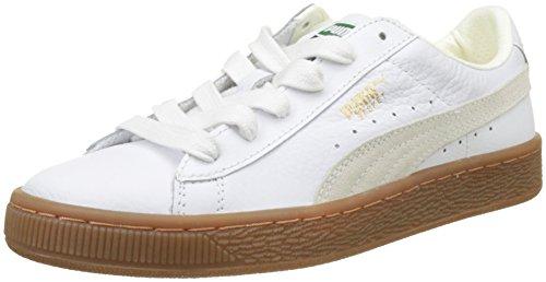 Puma Unisex-Kinder Basket Classic Gum Deluxe Jr Sneaker Weiß White, 39 EU