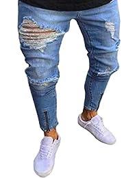 453b181f15bd Manadlian Herren Destroyed Jeans Hose Mit Reißverschluss Stretch Jeanshose  Basic Slim Fit Biker Hose