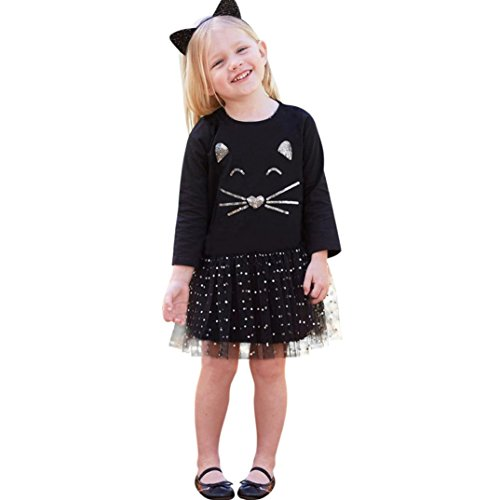 aby Kinder Mädchen Langarm Kleid Katze Pailletten Tutu Prinzessin Dot Kleid Kleidung Outfits(4T,A-Schwarz) (Pailletten-katze-anzug)