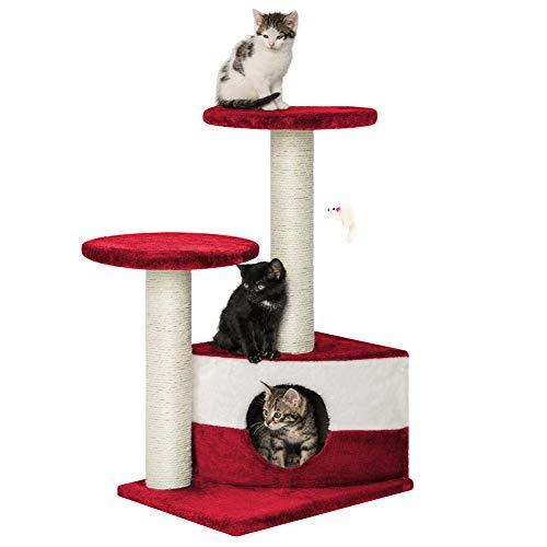 Albero per Gatto con Graffiatoio Cuccia Giocattolo Gatti Parco Giochi Tiragraffi in Sisal Naturale 71 x 44 x 33 cm (Colore Rosso Fidel 30070)