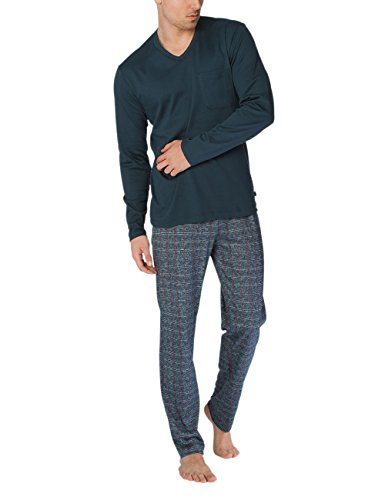 Calida Herren Zweiteiliger Schlafanzug David Pyjama Mehrfarbig (Onyx 808)