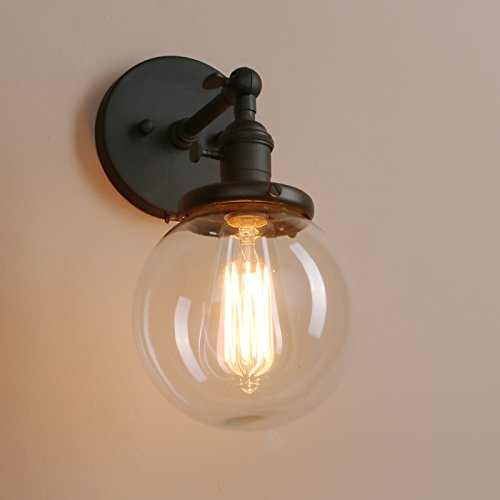 Black kitchen wall lights amazon pathson 15cm industrial vintage loft bar kitchen corridor switch wall sconce light lamp fixture with globe clear glass shade black mozeypictures Images