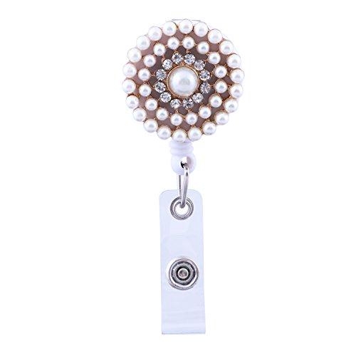 Soleebee Ausweishülle JoJo Ausweisjojo Schlüsselanhänger Ausweishalter Retractable Key Ring ziehen mit Gürtelschnalle ID-Kartenhalter Retractable 720mm (Perlen Kreis Blume)