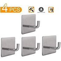 Self Adhesive Hooks, Heavy Duty Wall Hooks Hangers Waterproof Stainless Steel Hooks for Hanging Kitchen Bathroom Home Stick on Wall-4 Packs by ZGJT