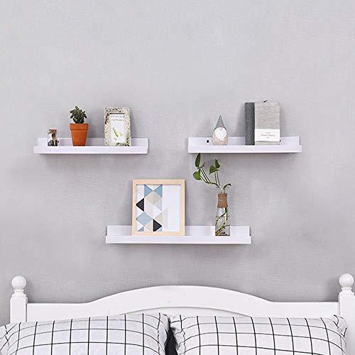 TANBURO Wandregal Hängeregal 3ER Set Schweberegale für Fotorahmen und Bücher MDF Holz weiß