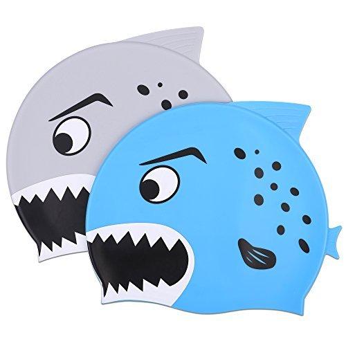 Oumers Kinder Badekappe,2Pack Silikon Wasserdichte Schwimmkappe/Bade Mütze für Jungen und Mädchen (Kinder Silikon-badekappen)