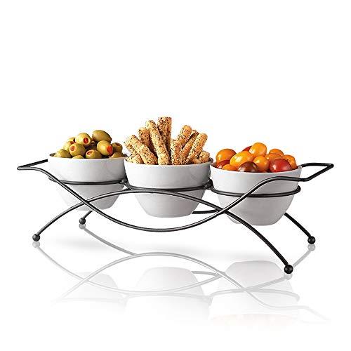 Servierschalen aus Keramik mit Metallablage - runde weiße Schüsseln Party-Set zum Servieren von Snacks, Vorspeisen, Süßigkeiten, Nüssen und Dips Keramik Relish Tray