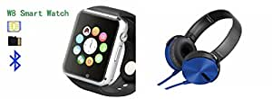 MIRZA Bluetooth A1 Smart Wrist Watch & Extra Bass XB450 Headphones for MICROMAX CANVAS SELFIE 3(Extra Bass XB450 Headphones & A1 Smart Watch Watch Phone with Camera & SIM Card Support Hot Fashion New Arrival Best Selling Premium Quality Lowest Price with Apps like Facebook,Whatsapp, Twitter, Sports, Health, Pedometer, Sedentary Remind,Compatible with Android iOS Mobile Tablet-Silver Color)