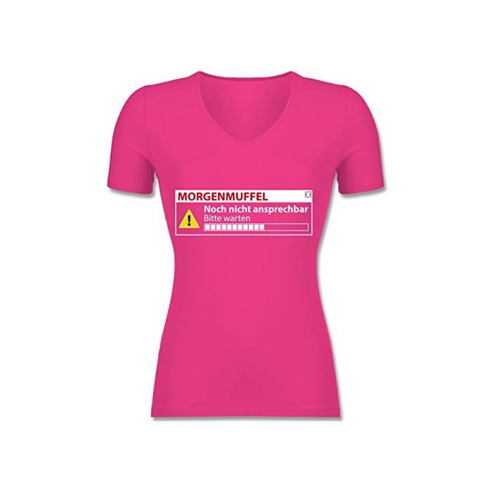 Shirtracer - Sprüche - Morgenmuffel - Nicht ansprechbar - Damen T-Shirt mit V-Ausschnitt