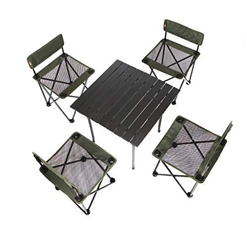SMBYLL Table et Chaise Pliantes Portables extérieures, Pique-Nique en Voiture en Alliage d'aluminium, Camping, Cinq pièces Chaise Pliante