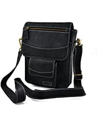 Embee's Classic Air Black Colored Genuine Leather Unisex Cross Body Sling Bag For All 10 Inch Tablets- IPad Air...